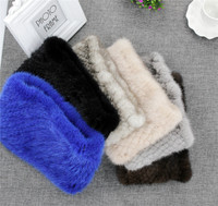 Brand New Genuine Real Mink Fur Knitted Neck Warmer Headband Scarfs Cowl Elasic