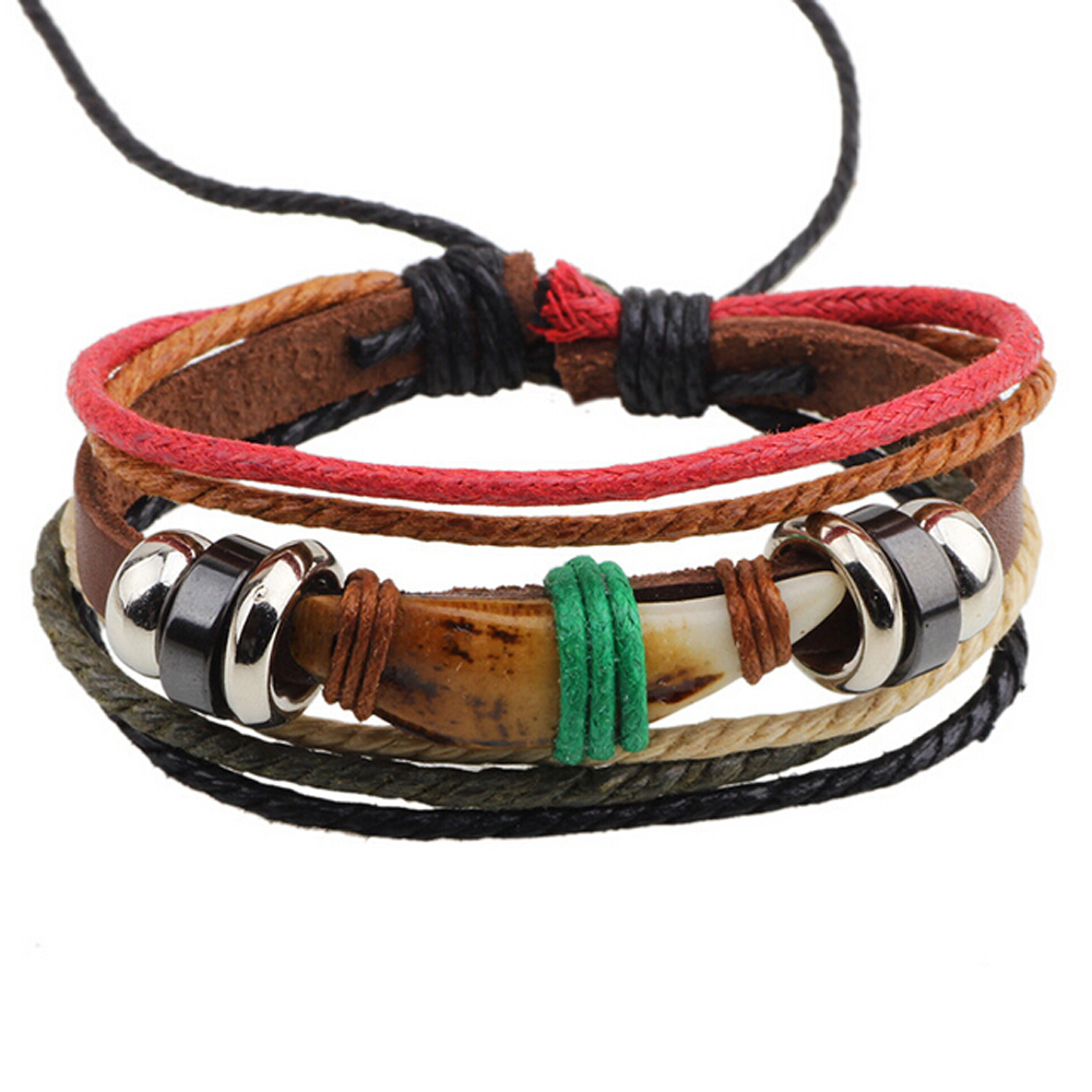 Cc190 Western Style Dog Tooth Bracelet Homme Leather Bracelet Femme Woven Mens  Bracelets For Women Braclet