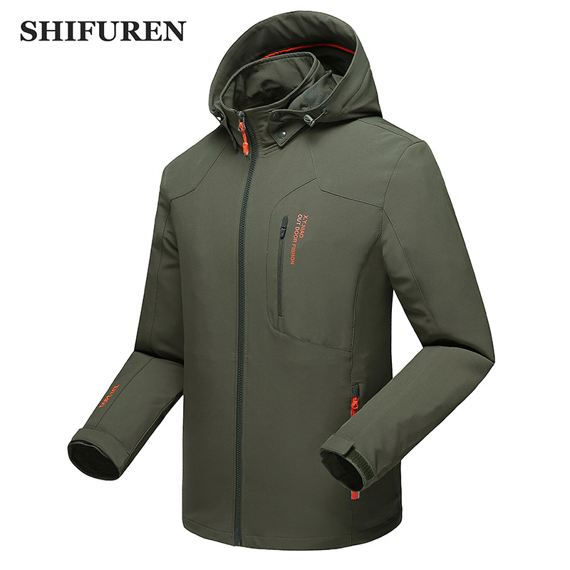 SHIFUREN Spring Autumn Men Outdoor Sports Camping Hiking Softshell Jackets Trekking Hunting Military Training Water Resistant