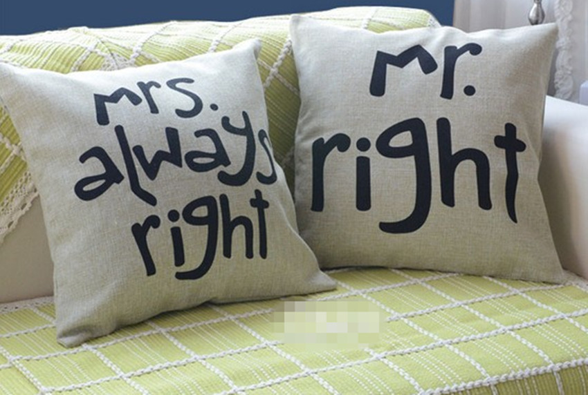 fashion new one pair cotton linen pillowcase mr right. Black Bedroom Furniture Sets. Home Design Ideas