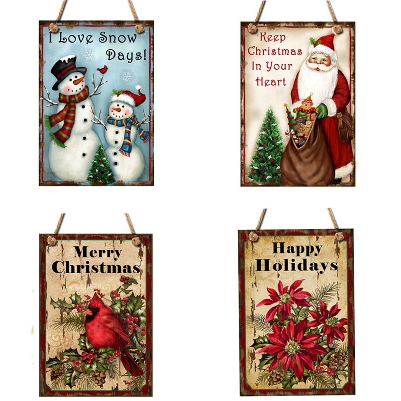Happy Christmas Wooden Pendant Door Decorations Hanging