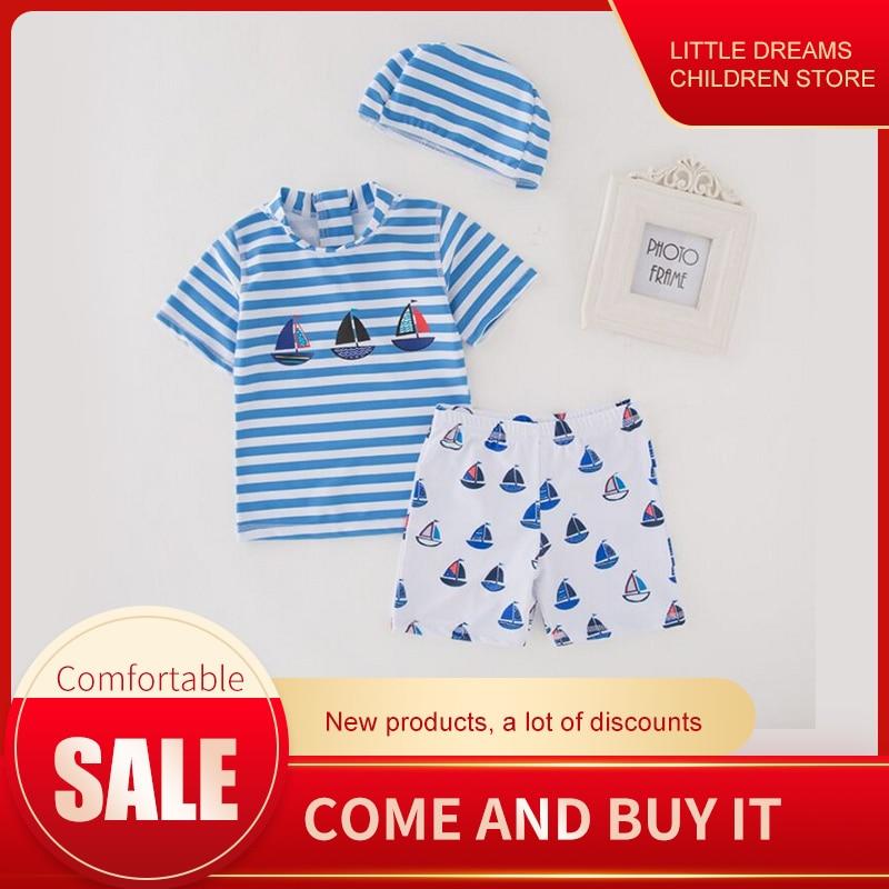 Free Ship Baby Swimwear Boys Infant Toddler Swimwear Kids Striped 3Pcs Suit Animal Swimwear Hat+Swimwear Cute Cartoon Swimsuit