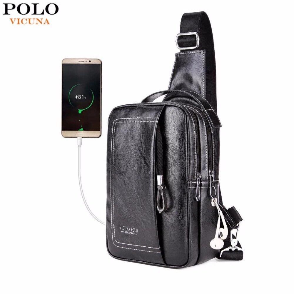 VIGOGNE POLO Double Poche USB De Charge PU En Cuir Hommes Messenger Sac Avec Casque Sortie Épaule Sac Casual Poitrine Sling Sacs