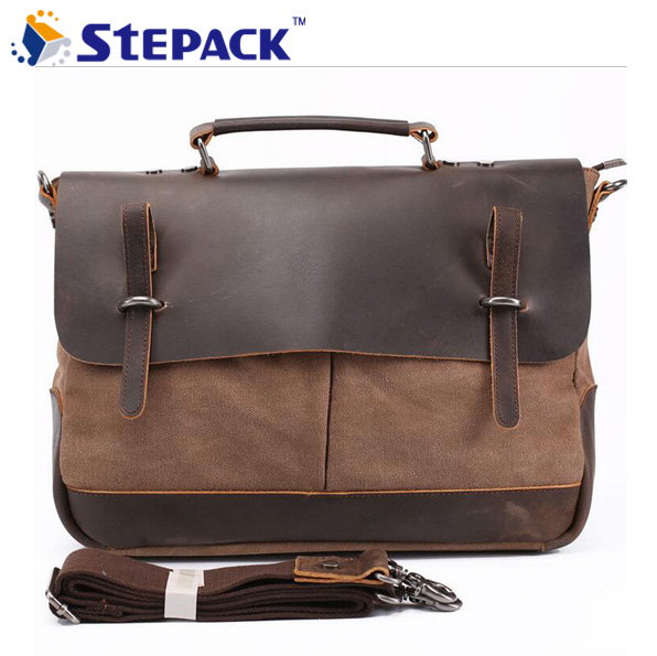 ФОТО 2016 New Fashion Shoulder Bag Portable Briefacase Crazy Horse with Canvas Leather Messenger Bag For Men Vintage Travel WMB0179