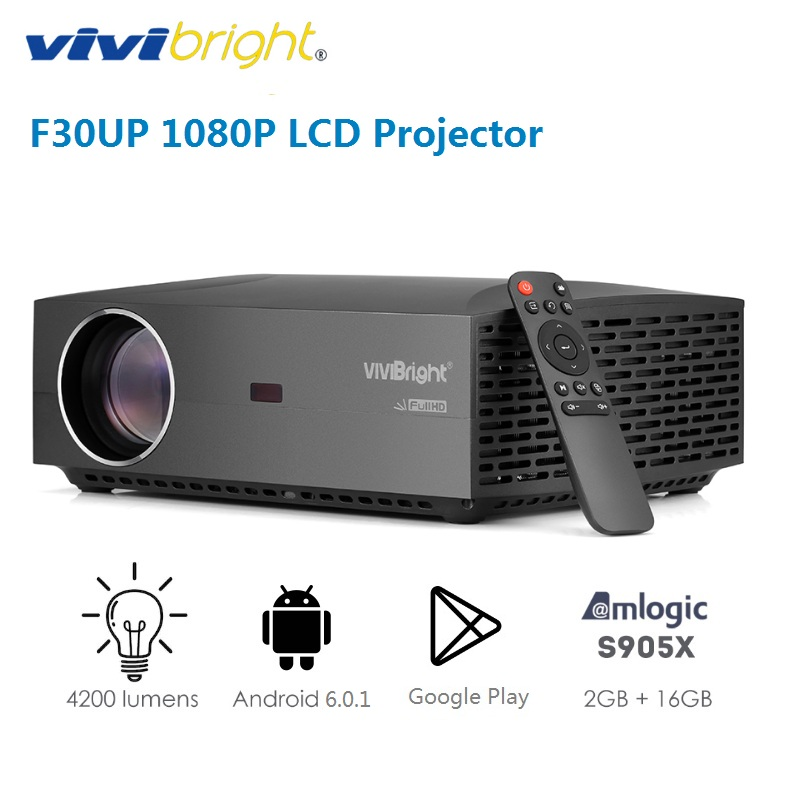 VIVIBRIGHT F30UP LCD Android Projector 1080P Full HD Home Entertainment Commercial 4200 Lumens Bluetooth 4.0(China)