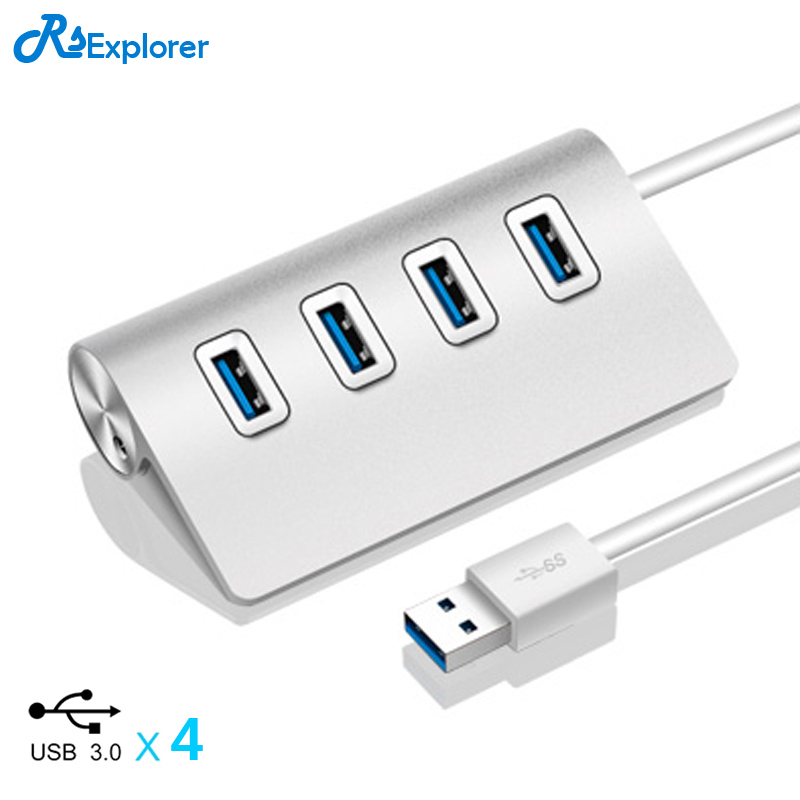 RSExplorer Good Quality High-Speed 5Gbps Aluminum 3.0 usb hub With External 4 PORTS USB 3.0 HUB For Computer MacBook-Silver стоимость