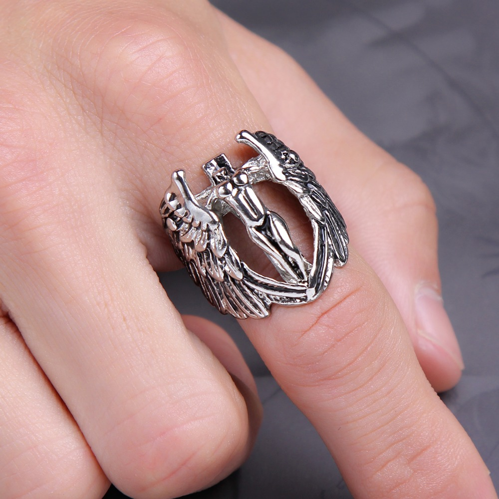 Wholesale Men Jewelry Male Wings Biker Naked Angle Ring Vintage