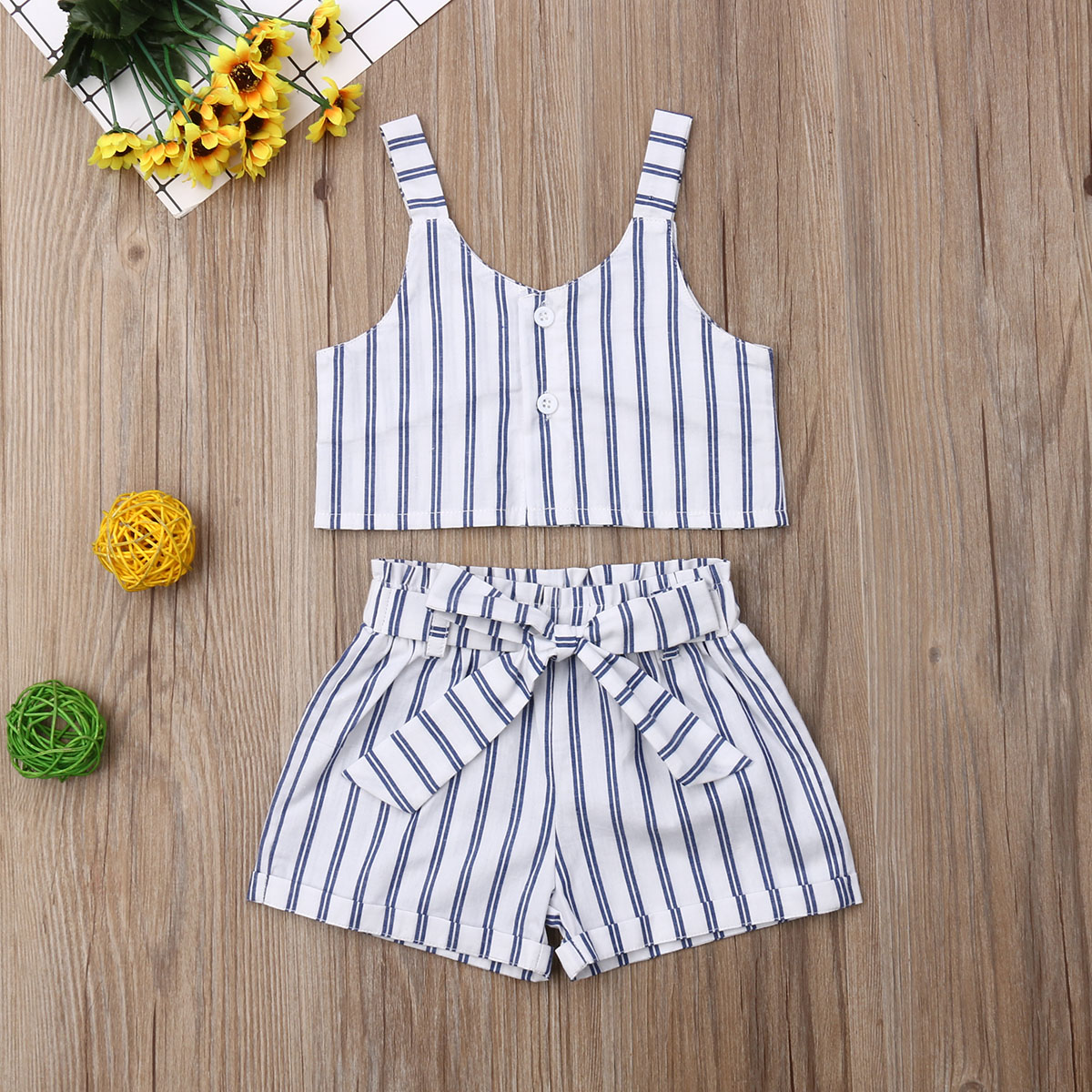 White Stripes Clothes 2Pcs Set Toddler Baby Girls Kids T shirt Vest Tops Short Pant Outfit for Children Summer in Clothing Sets from Mother Kids