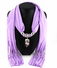 New Charms winter Scarf Necklaces tassel bead Vintage Owl Pendant scarf Necklaces Women Scarf Necklaces Jewelry Wholesale Bijoux(China)
