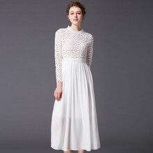 หรูหราA Estheticismชุด2016ฤดูร้อนสีขาวเต็มกลีบแขนปักคอเต่ากลวงออกบางแฟชั่นชุดสำหรับผู้หญิง