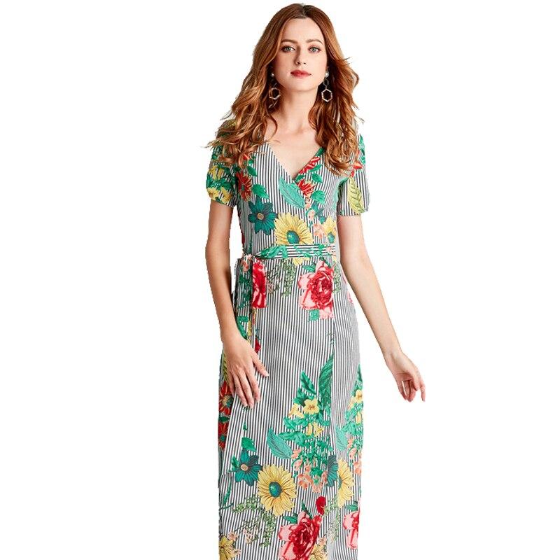 2a4c42920daa Melhor AOTEMAN Impressão Mulheres Florais de Verão Vestido Ocasional Do  Vintage Com Decote Em V De Alta Garfo Chiffon Longo Vestido Feminino Vestido  ...