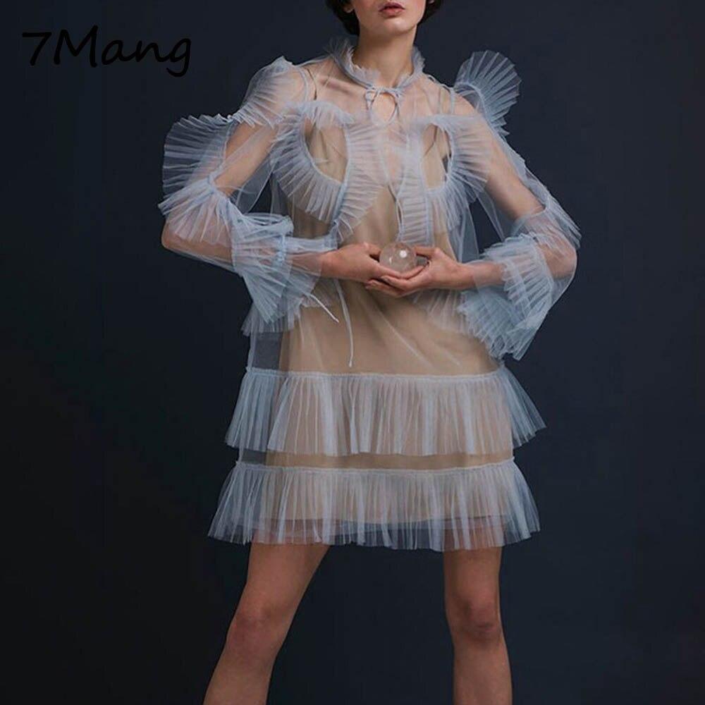 Volants Robe Flare À Femmes Manches Pu Sexy 7 Deux Robes Élégant Longueur Pièces Ciel Étrange Genou Maille Bleu Mang 2018 Long Parti Mode sCthQrd