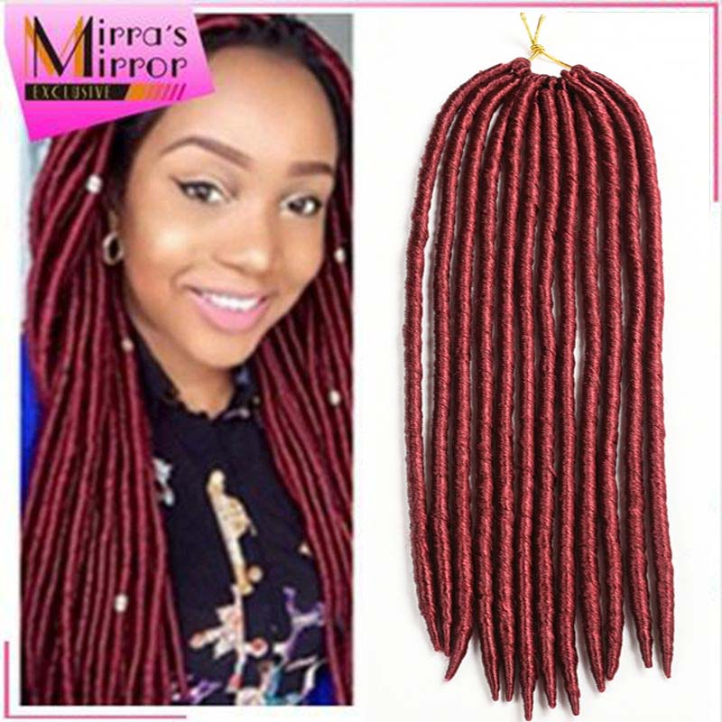 Faux Locs Crochet Hair Extension Soft Burgundy Dreadlock Braids Hair