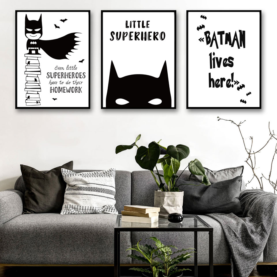 buy batman comic minimalist art canvas poster painting cartoon superhero black. Black Bedroom Furniture Sets. Home Design Ideas