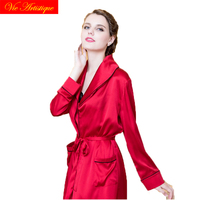 lingerie femme red pure silk dress sexy nightwear robe nighty set two piece plus size Women's Sleep Lounge Robe Gown Sets belt