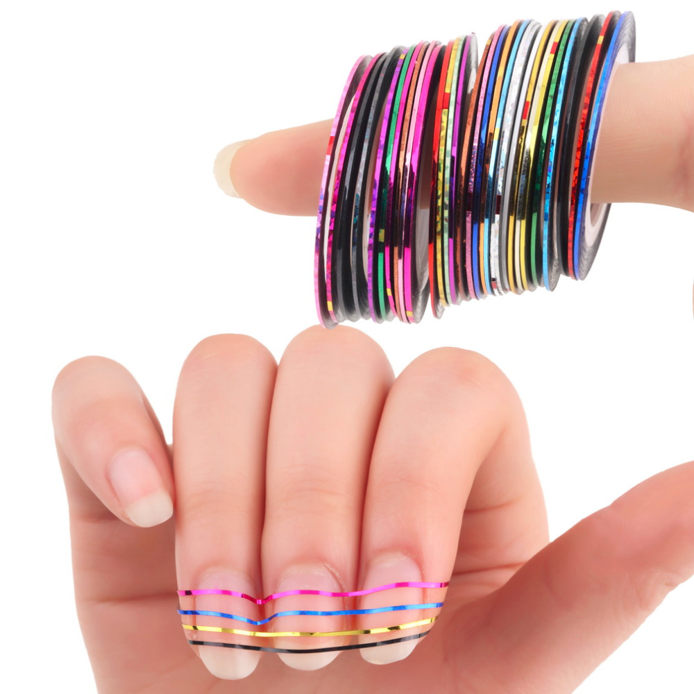 30Pcs Mixed Colorful Beauty Rolls Striping Decals Foil Tips Tape Line DIY Design Nail Art Stickers for nail Tools Decorations 14 rolls glitter scrub nail art striping tape line sticker tips diy mixed colors self adhesive decal tools manicure 1mm 2mm 3mm