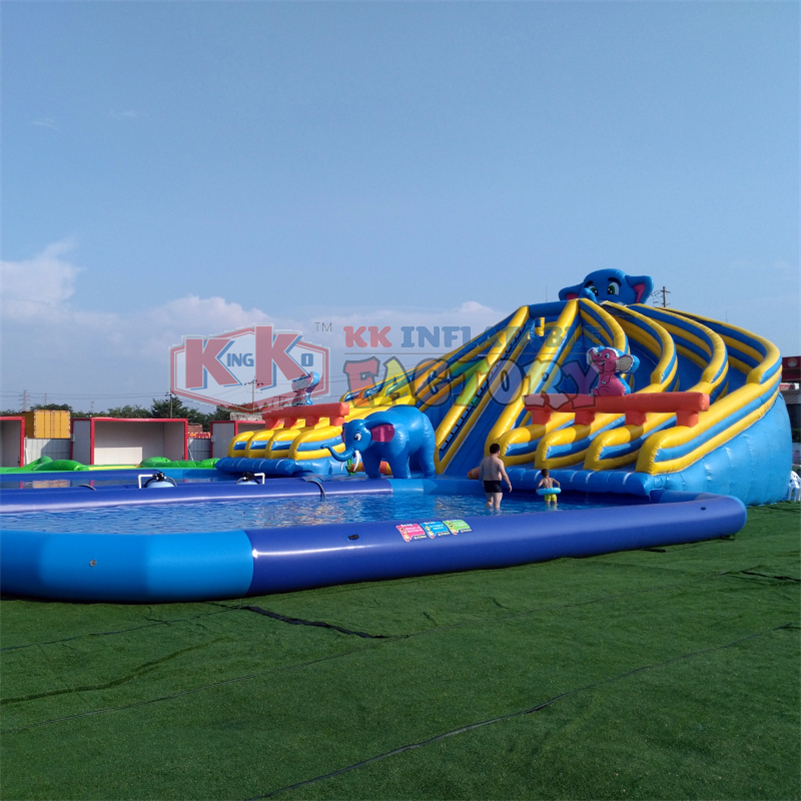 Giant Size PVC Hippo Water Slide Outdoor Cliff Commercial Slip N Slides Inflatable