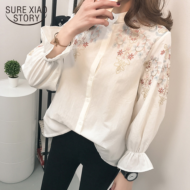 Blouse Shirt Female Cotton 2019 Women Blouses Embroidery Shirts Shoulder Long Sleeve Casual Tops Shirts Blue White Blusas902A 30