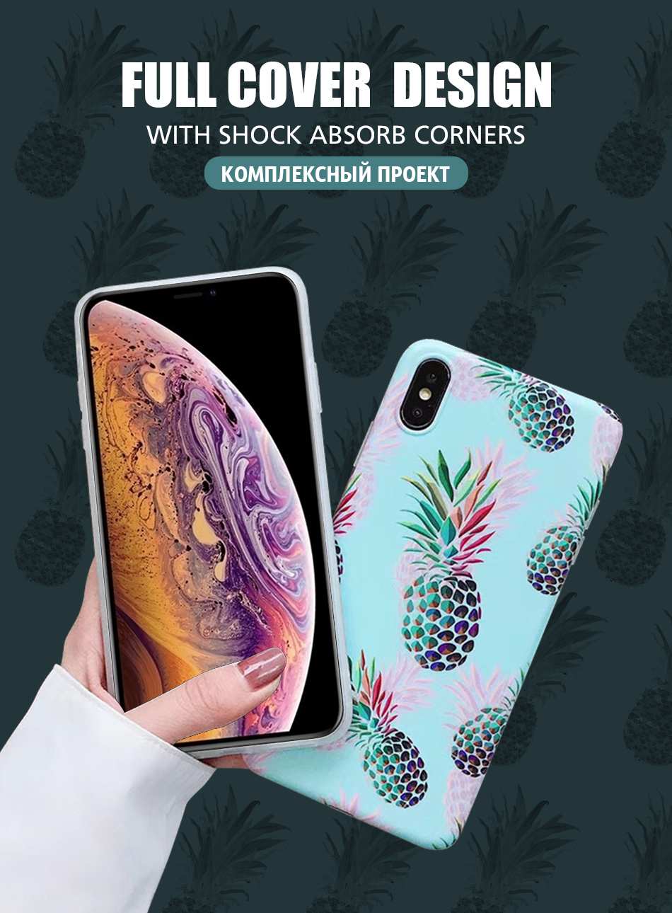 Pohiks For iPhone Xs Max XR X 8 7 6 Plus Glossy Pineapple Design Soft Phone Case Back Cover For iphone 7 8 6 6s plus X XR XS Max