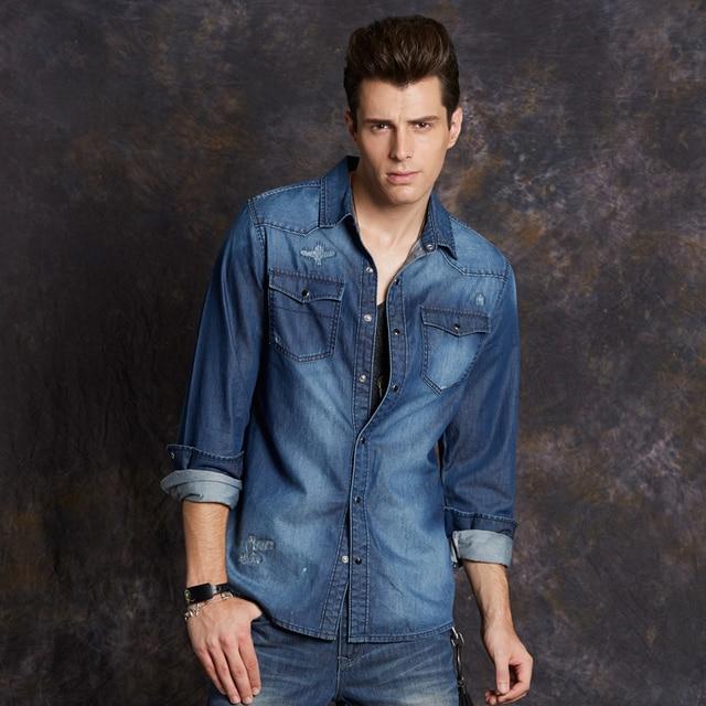d0ad2e035 Style men's long-sleeved shirt Slim long-sleeved denim shirt men lining  jeans shirt