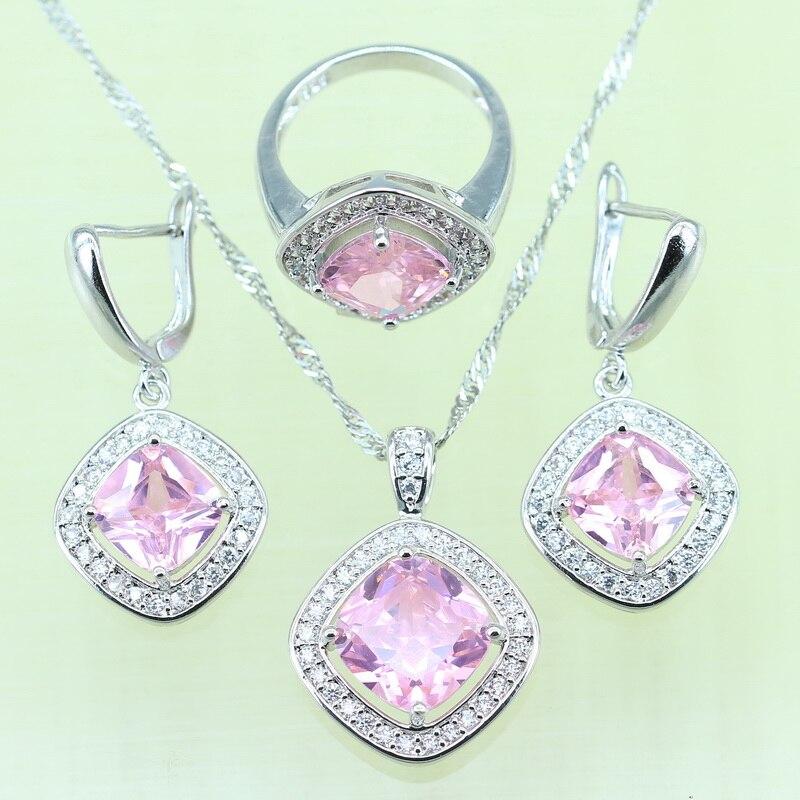 b762ced561a1 Reginababy exquisito Rosa joyería del rhinestone Sets para las mujeres plata  color ZIRCON anillo Pendientes colgante Collar tamaño 6 7 8 9
