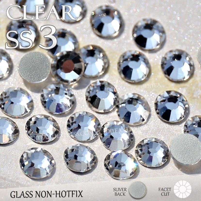 SS3 1.4mm 1440Pcs / táska Tiszta Rhinestone a körömdíszítéshez Nem HotFix laza kristály kövek köröm csillognak DIY dekorációs manikűrrel