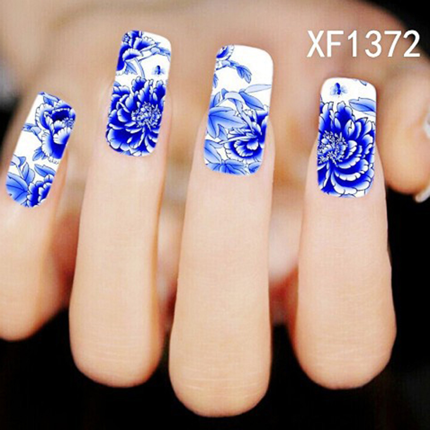 30 Sheets New Design Nail Art Water Transfer Stciker Decals Blue ...