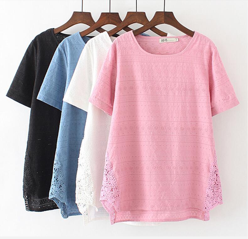 Plus velikost výřez vyšívané dámské topy s krátkým rukávem 2018 letní tričko volné základní tričko krajky duté tričko tričko femme XXXL