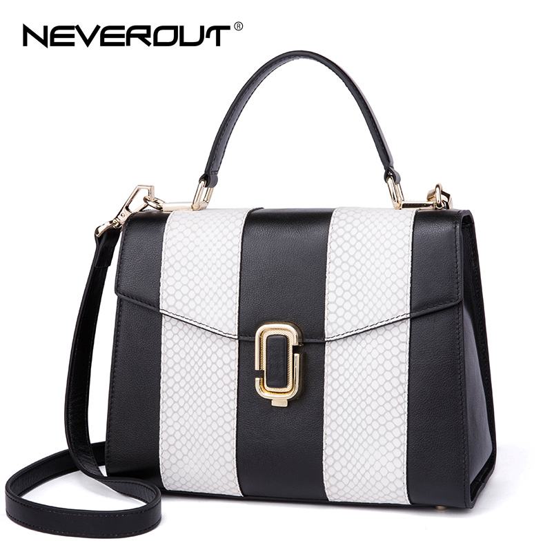 NeverOut New Crossbody Bags For Women Solid Striped Genuine leather Handbags Fashion Flap Handbag Shoulder Bag Sac Classic Tote 3 1063918