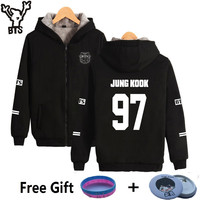 BTS K Pop Women Hoodies Sweatshirt Fashion Thicker Villus Winter Coat Bangtan Hip Hop Sweatshirt Women