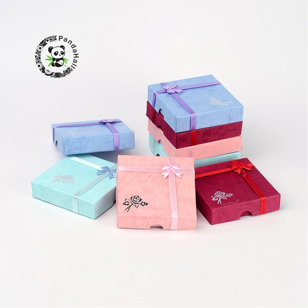 6 Pcs Cardboard Bracelet Gift Boxes Square With Flower Bangles Carrying Cases Sponge And Fabric Inside Mixed-Color About 9*9*2cm