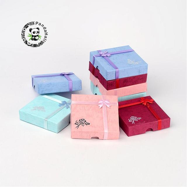 6 Pcs Cardboard Bracelet Gift Boxes Square With Flower Bangles
