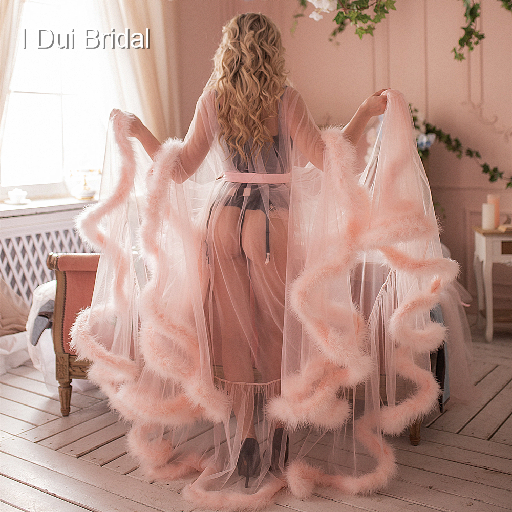 Bridal Boudoir Robe Pink Feather Bridal Sheer Robe Tulle Illusion Long Birthday Feather Robe Costume Bachelorette Party Dress(China)