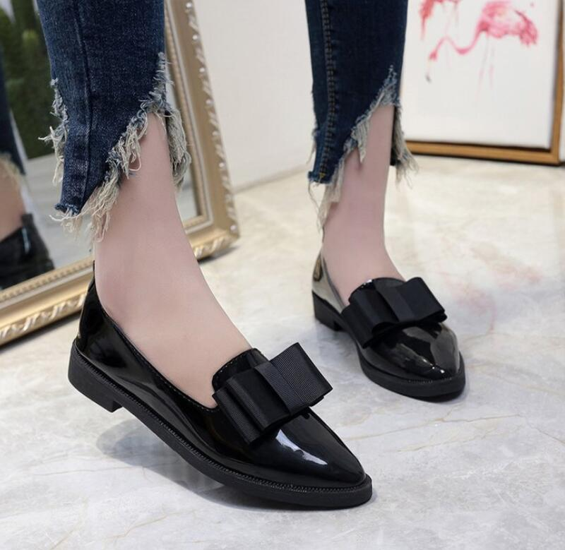 Spring Flats Women Shoes Bow-Tie Loafers Patent Leather Low Heels Slip On Female Thick Heel Single Shoes