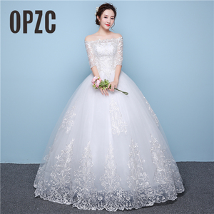 Image 1 - White Lace Boat Neck Half Sleeve Fashion Simple Wedding Dress Gowns Hiqh Quality Floor Length Big Embroidery Off the shoulder