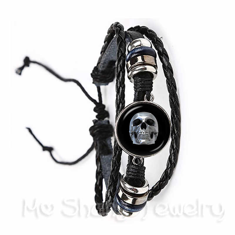 Mexico Candy Skeleton Glass Dome Time Gem Bracelet European and American Hot Sale Black/Brown Leather Bangle Personalized Jewelr