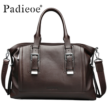 Padieoeo Brand Briefcase Men Shoulder Bags Genuine Leather Handbag Casual Messenger Bag Men's Business Cowhide Travel Laptop Bag