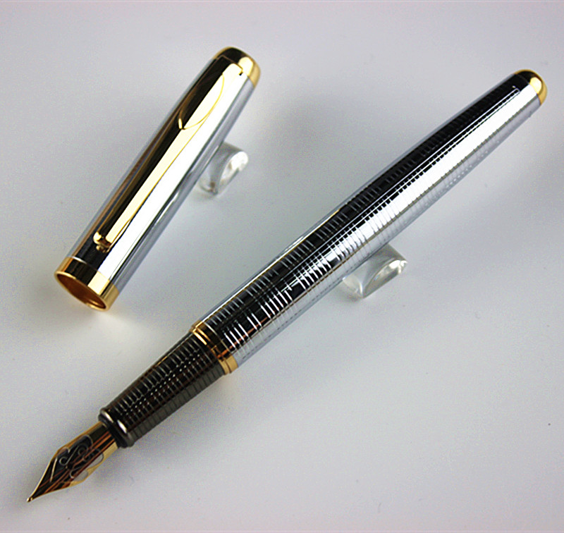 classic Executive Golden and Silver F Bib Fountain Pen Stationery School&Office Writing Pen
