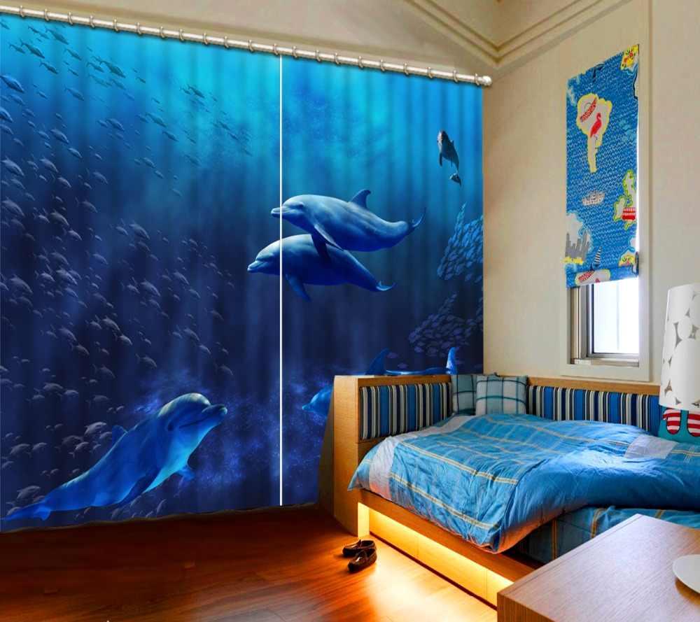 אישית 3d וילונות התת דולפינים וילון סלון חדר שינה וילונות מטבח ההאפלה ילדים וילונות בסגנון אירופאי