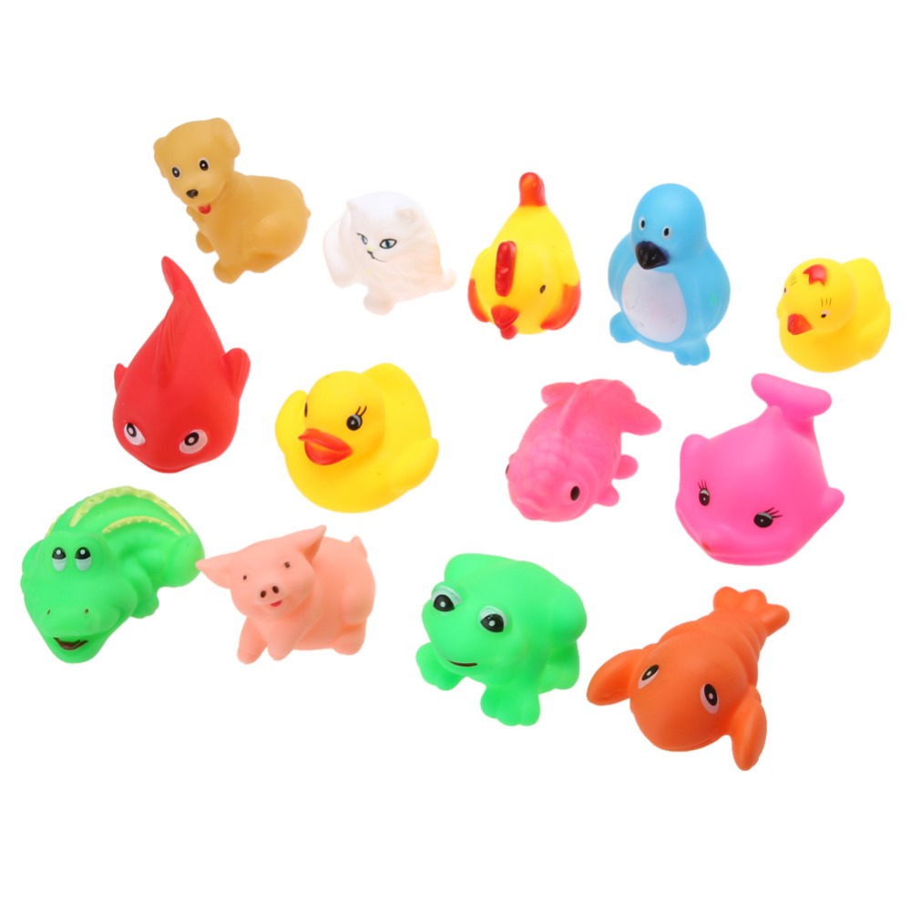 13Pcs Cute Soft Rubber Float Squeeze Sound Dabbling Toys Baby Wash ...