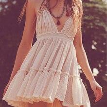 Boho Summer Dress Women's New Lace Stitching Deep V-neck Women Dresses