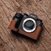 Mr.Stone Handmade Genuine Leather Camera case Video Half Bag Camera Bodysuit For Sony A9 A7Riii A7iii MK3 Camera