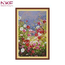NKF cross stitch unframe kits for embroidery  printed on canvas pattern 11CT counted print DMC 14CT Cross Stitch