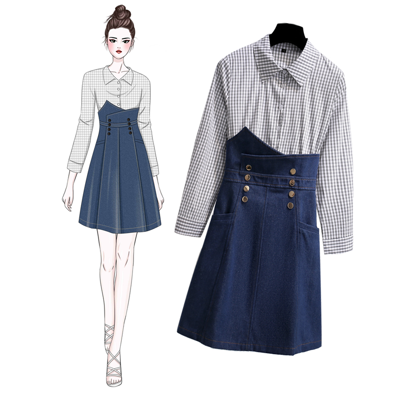 Plaid Shirt And Skirt 2018 New Jeans For Spring Autumn Season Fashionable Jeans Sukol Skirt Top And Skirt Set 2pcs 6072