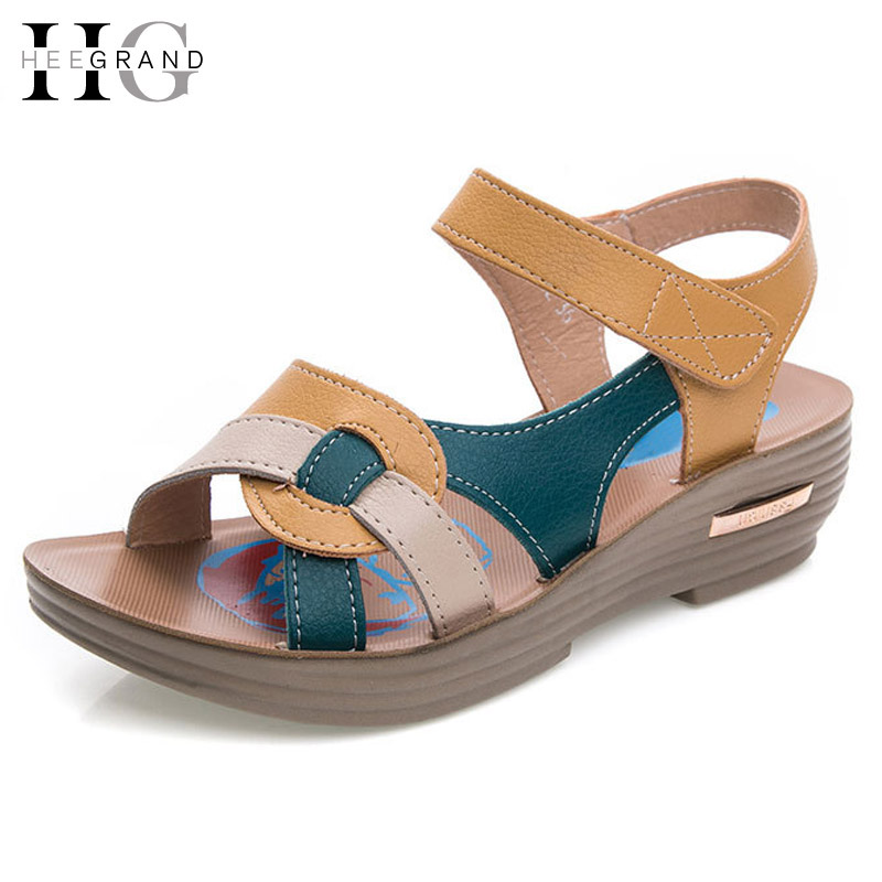 7769be7f62 HEE GRAND Summer Wedges Gladiator Sandals Leather Platform Shoes Woman  Beach Flats Casual Mother Women Shoes Size 35 41 XWZ2533-in Women's Sandals  from ...