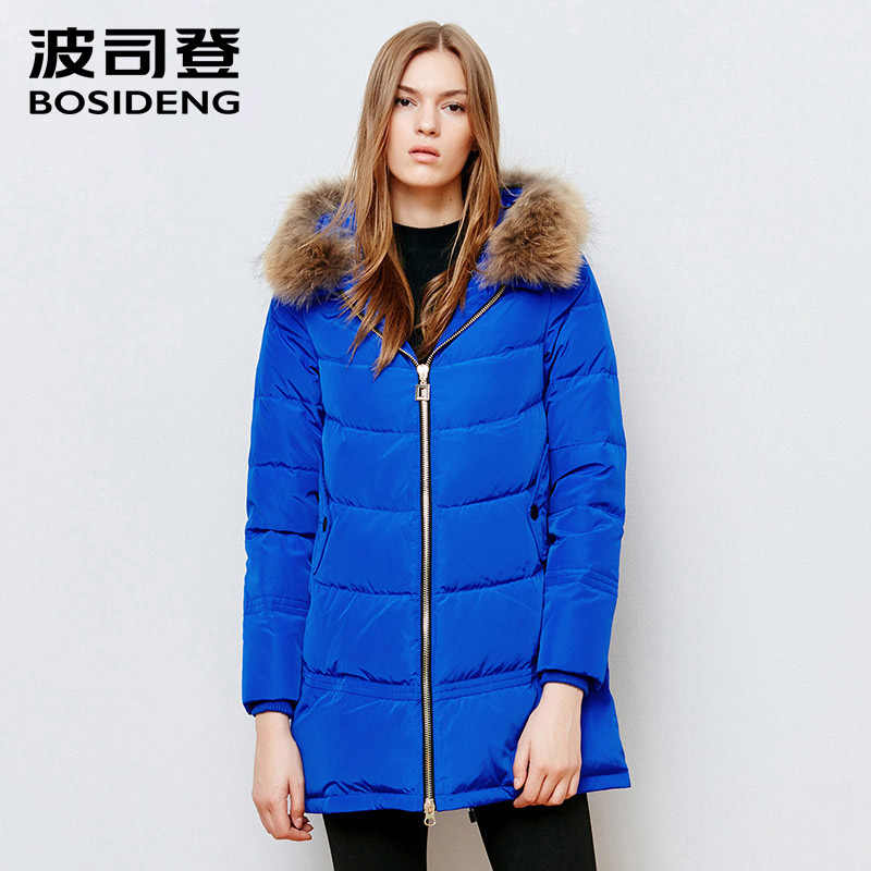 d9366239e BOSIDENG winter women down coat mid long down jacket real raccoon ...
