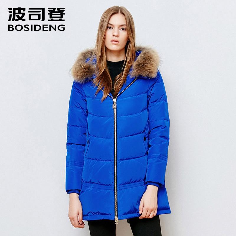 BOSIDENG winter women   down     coat   mid-long   down   jacket real raccoon fur minimalist casual parka adjustable bottom B1501174