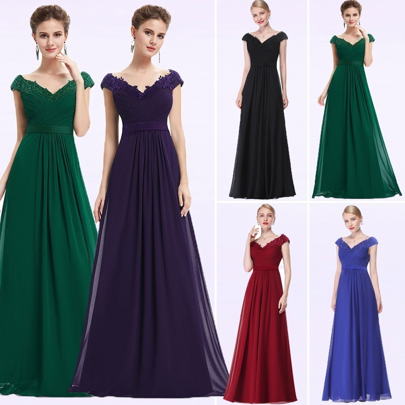Wedding Party Gowns Plus Size Evening Dresses 2019 Women's Long Elegant V-neck Sleeveless A-line Chiffon Evening Gowns