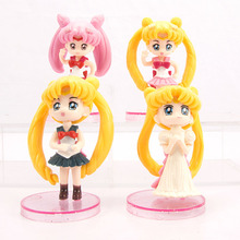 7CM Bybrana Sailor Moon Q Version Of The Month Hare Water Ice Month Hand Office Toy Model Car Decoration Cake Decoration 4pcs heymodel pelvic with nine month fetal model