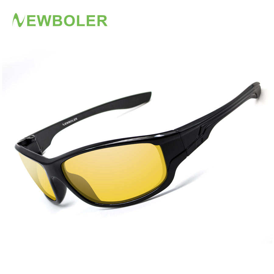 NEWBOLER 2018 Fishing Glasses Polarized Yellow Brown Lenses Men Women Fishing Eyewear driving Version Night Sport Sunglasses